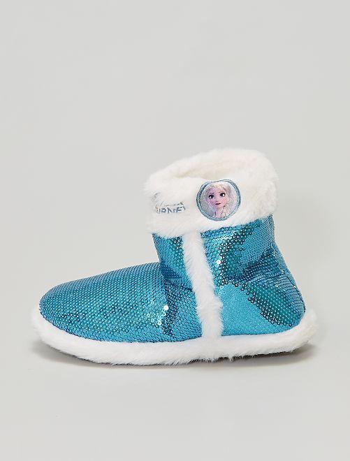 Chaussons boots à sequins 'La Reine des Neiges'                             bleu