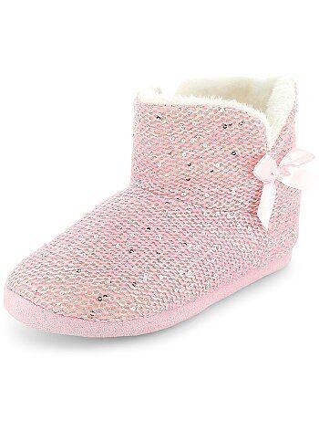 Chaussons boots à sequins - Kiabi
