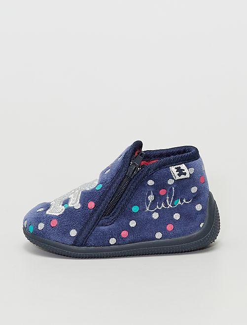 Chaussons montant zippés 'Lulu Castagnette'                             bleu
