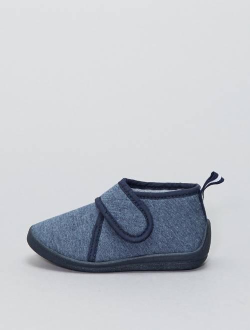 Chaussons montants à scratch                     bleu Bébé garçon