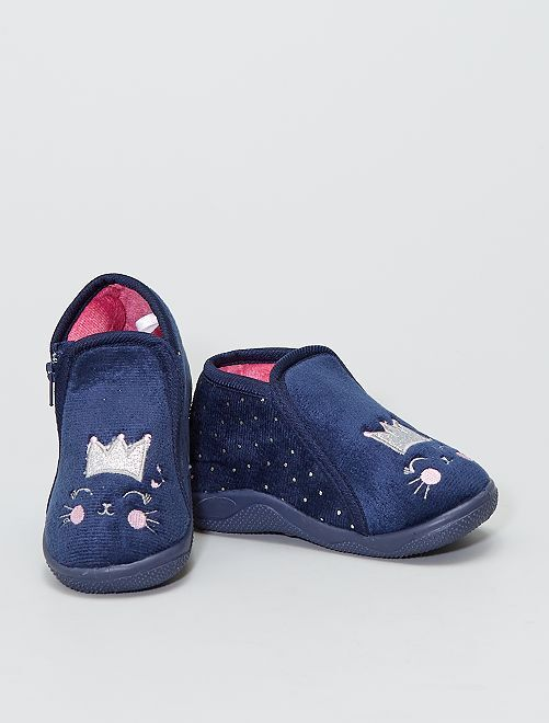 Chaussons montants 'chat'                             bleu navy