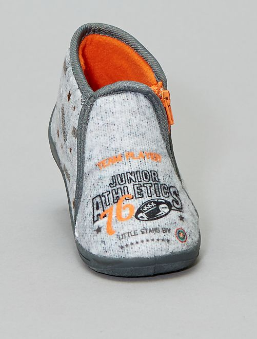 Chaussons montants en ratine                             gris Chaussures