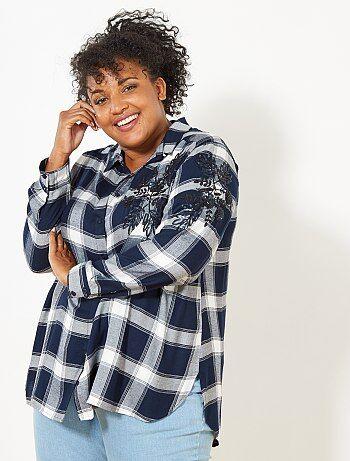 Chemise à carreaux brodée - Kiabi