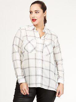 Chemise, chemisier - Chemise à carreaux en coton