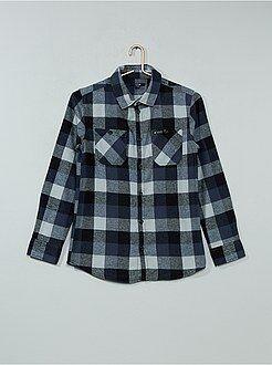Chemise manches longues - Chemise à carreaux en flanelle