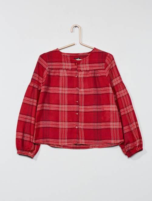 chemise carreaux fille rouge kiabi 10 00. Black Bedroom Furniture Sets. Home Design Ideas