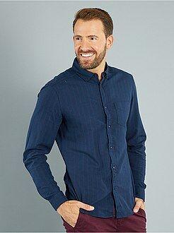 Chemise ajustée - Chemise à rayures en twill de coton