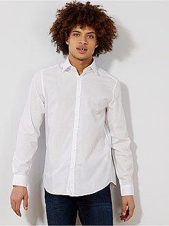 Chemise city - Chemise blanche unie coupe droite - Kiabi