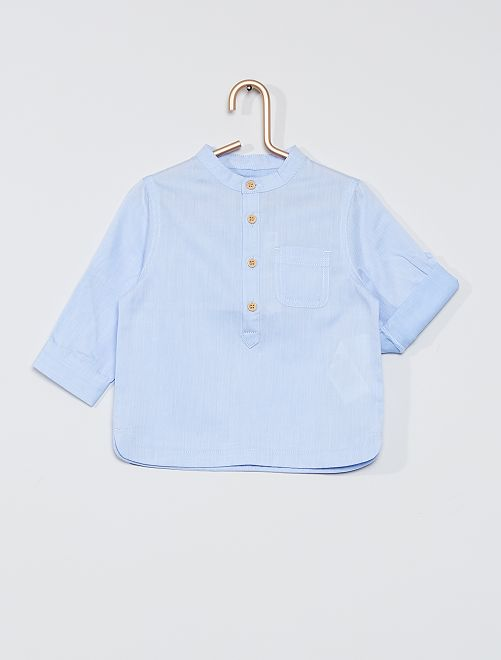 Chemise cérémonie col mao                             bleu