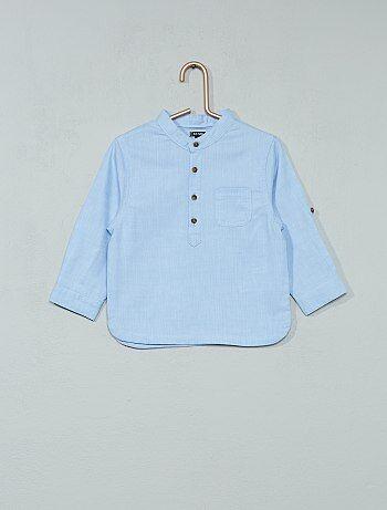 Chemise chambray à col mao - Kiabi