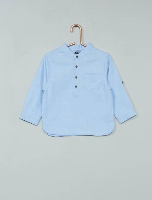 Chemise chambray à col mao                             bleu