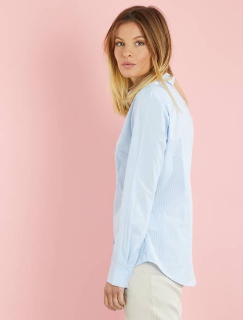 chemise cintr e en popeline stretch femme blanc kiabi 9 00. Black Bedroom Furniture Sets. Home Design Ideas