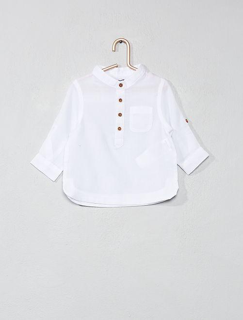 Chemise col mao en voile de coton                     blanc