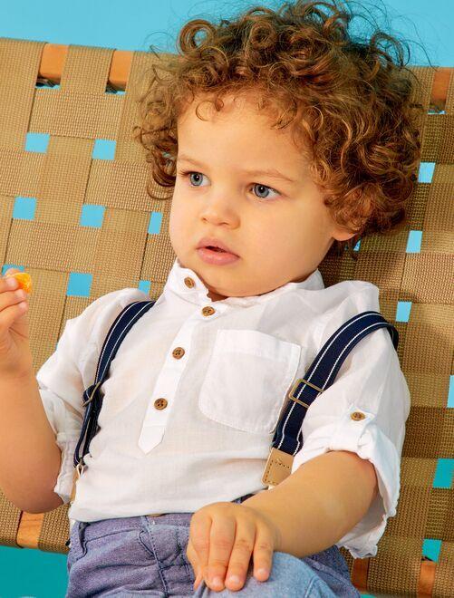 Chemise col tunisien éco-conçue                             blanc