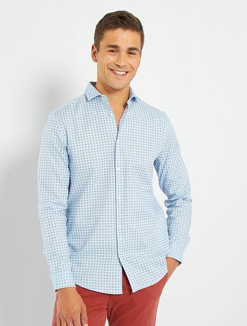 Chemise coton dobby                                                                 bleu clair