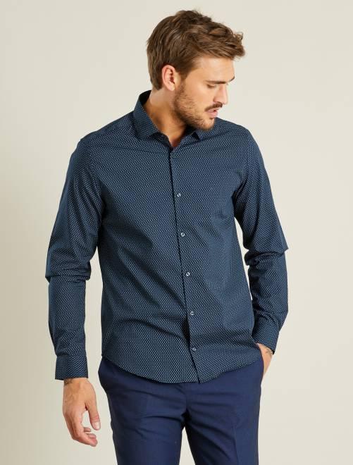 Chemise coupe droite en popeline homme bleu marine - Chemise coupe droite homme ...