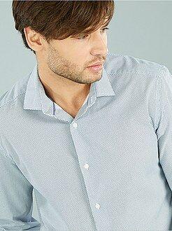 Homme du S au XXL Chemise coupe droite popeline imprimée micro-motif
