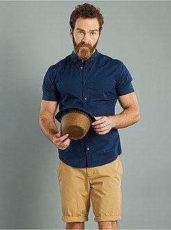 Chemise droite manches courtes popeline imprimée