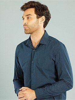 Chemise droite popeline à carreaux