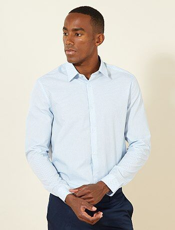 Chemise droite popeline à pois - Kiabi