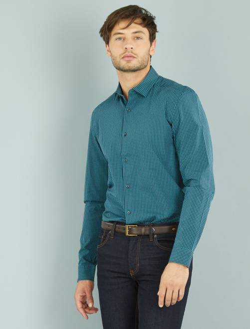 Chemise droite en chambray vichy turquoise/marine Homme