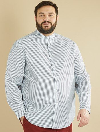 Grande taille homme - Chemise droite rayée col mao - Kiabi