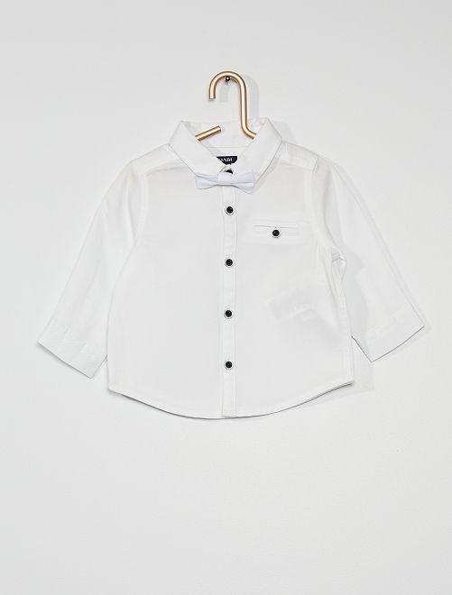 Chemise en coton avec nœud papillon                             blanc