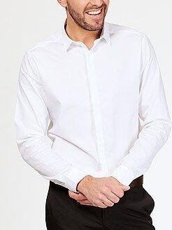 Chemise ajustée - Chemise en coton motif tissé coupe ajustée