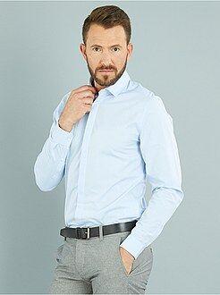 Homme du S au XXL Chemise en coton motif tissé coupe ajustée