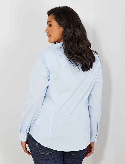 chemise en popeline stretch grande taille femme ray bleu kiabi 12 00. Black Bedroom Furniture Sets. Home Design Ideas