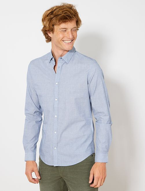 Chemise fitted en coton dobby                                                                 bleu clair Homme