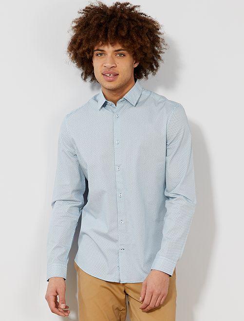 Chemise fitted en popeline à fleurs                                                         blanc/bleu vert losanges Homme