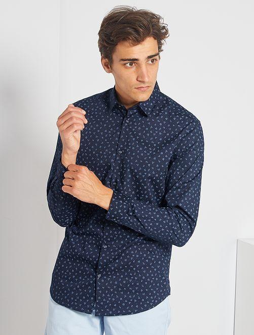 Chemise fitted en popeline à pois                                 marine/bleu