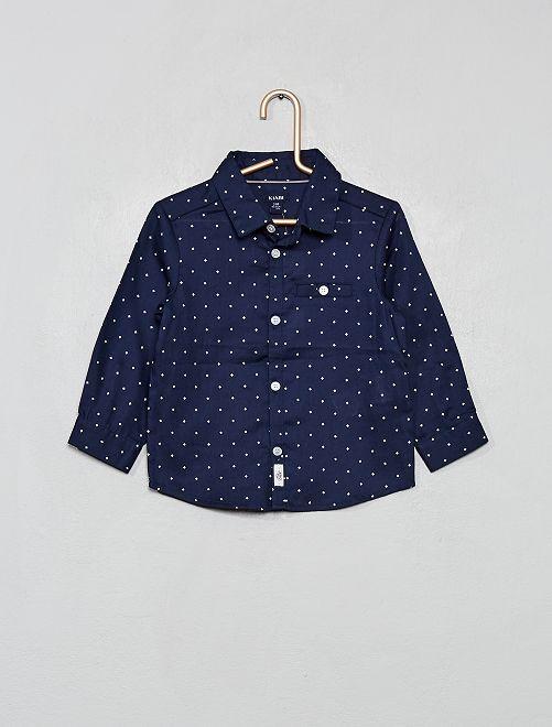 Chemise imprimée mini-motifs                             bleu marine