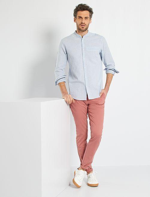 Chemise lin & coton                                                     bleu clair