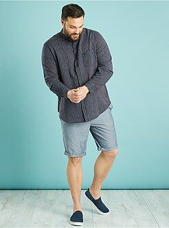 Grande taille homme Chemise lin et coton coupe droite