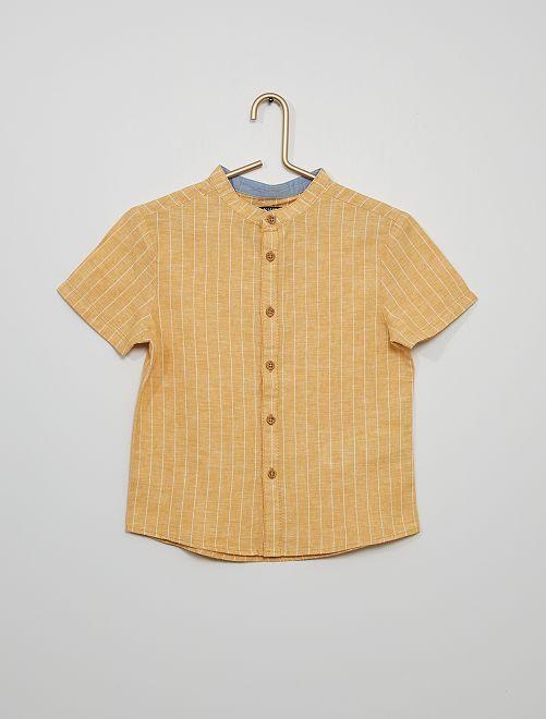 Chemise lin et coton                             jaune rayé