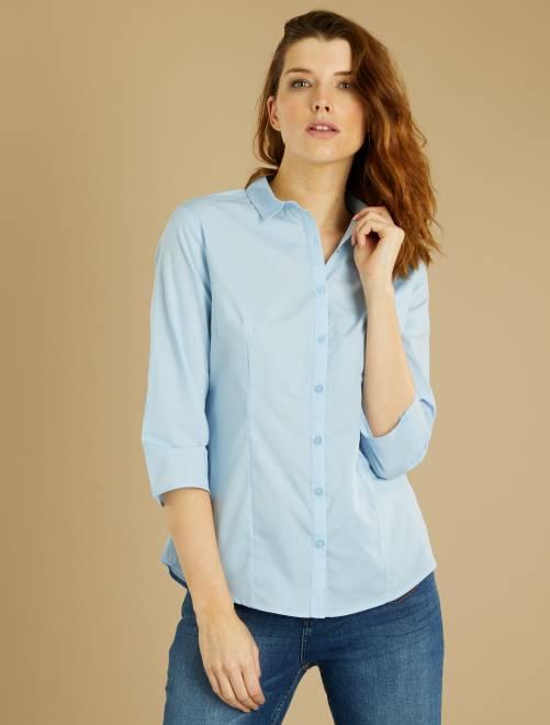chemise manches 3 4 femme bleu ciel kiabi 5 00. Black Bedroom Furniture Sets. Home Design Ideas