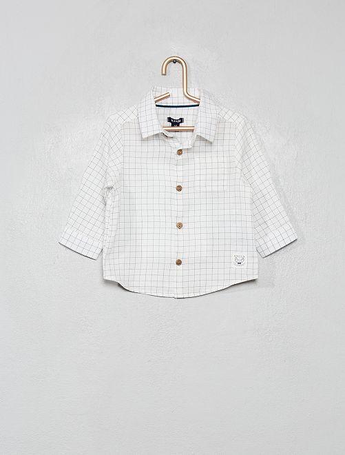 Chemise manches longues à carreaux                                         blanc