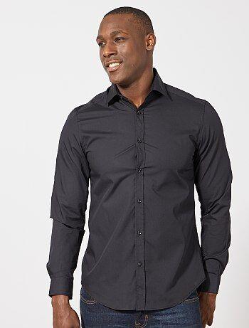 Chemise noire unie coupe droite - Kiabi