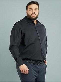 Grande taille homme Chemise regular en coton dobby