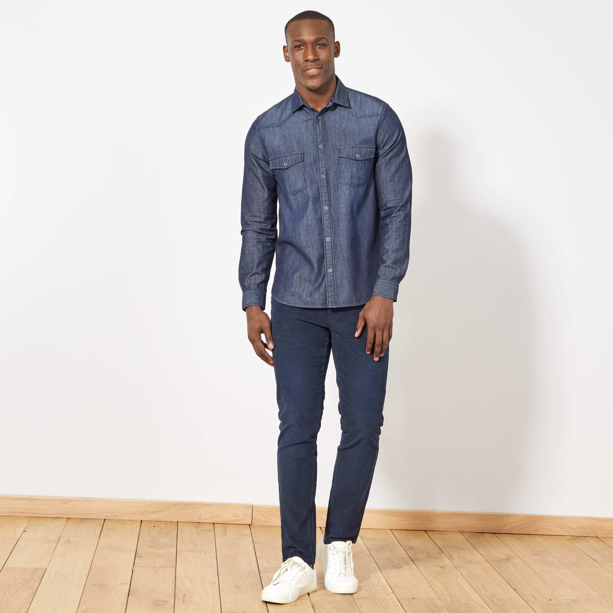 chemise regular en jean homme brut kiabi 15 00. Black Bedroom Furniture Sets. Home Design Ideas