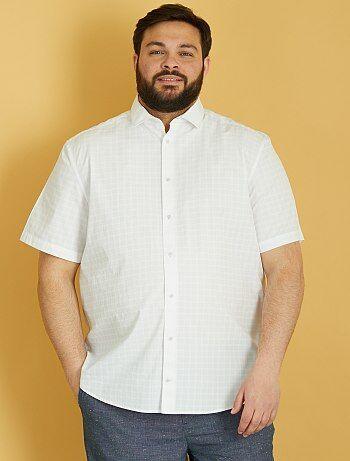 Chemise regular popeline à carreaux - Kiabi