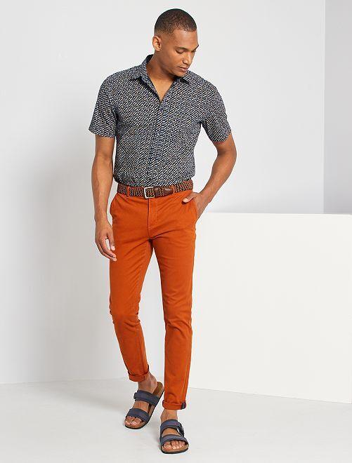 Chemise slim à carreaux                                                                                                                                                                                             bleu marine/triangle
