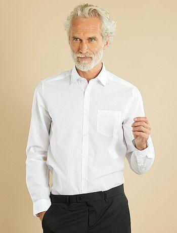 Chemise unie coupe droite                     blanc Homme