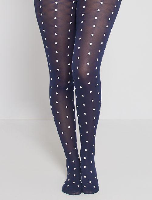 Collants pois rétro Style 40D 'DIM'                             noir/marine