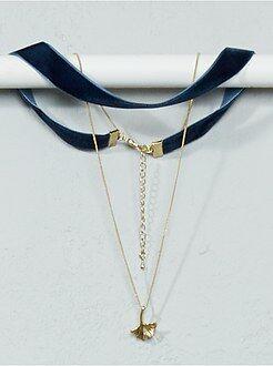 Bijoux - Collier chocker + chaîne et pendentif feuille