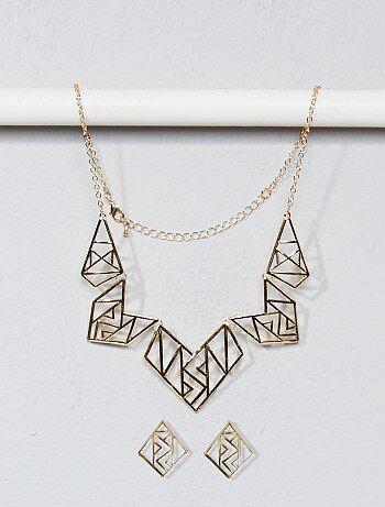 Collier et boucle d'oreille forme géométrique - Kiabi
