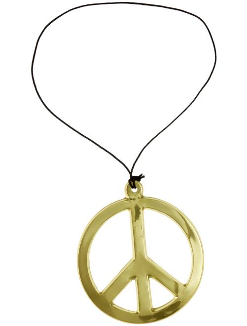 Collier hippie peace and love                                          doré Accessoires