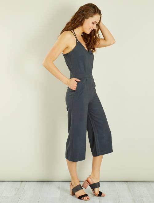 combinaison coupe large femme gris fonc kiabi 25 00. Black Bedroom Furniture Sets. Home Design Ideas